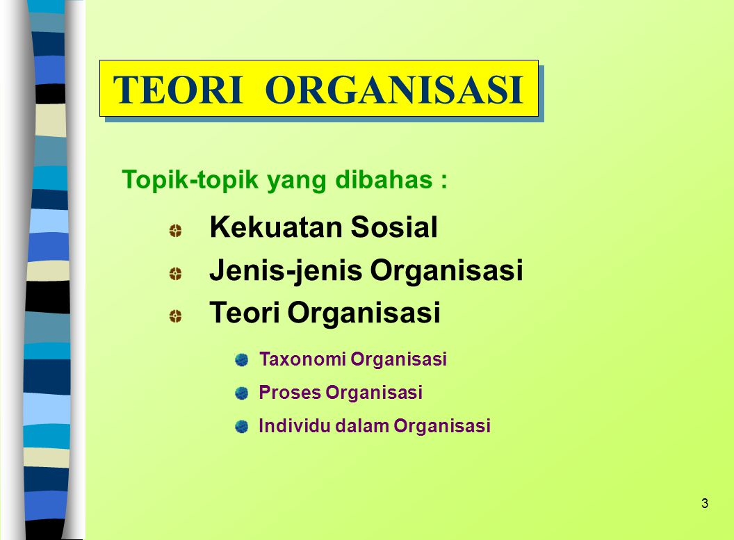 TEORI ORGANISASI Kekuatan Sosial Jenis-jenis Organisasi