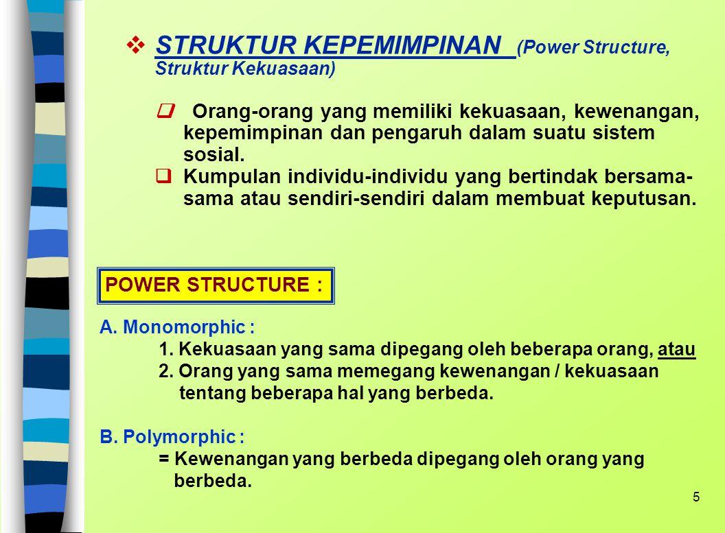 STRUKTUR KEPEMIMPINAN (Power Structure, Struktur Kekuasaan) q Orang-orang yang memiliki kekuasaan, kewenangan, kepemimpinan dan pengaruh dalam suatu sistem sosial. q Kumpulan individu-individu yang bertindak bersama- sama atau sendiri-sendiri dalam membuat keputusan.