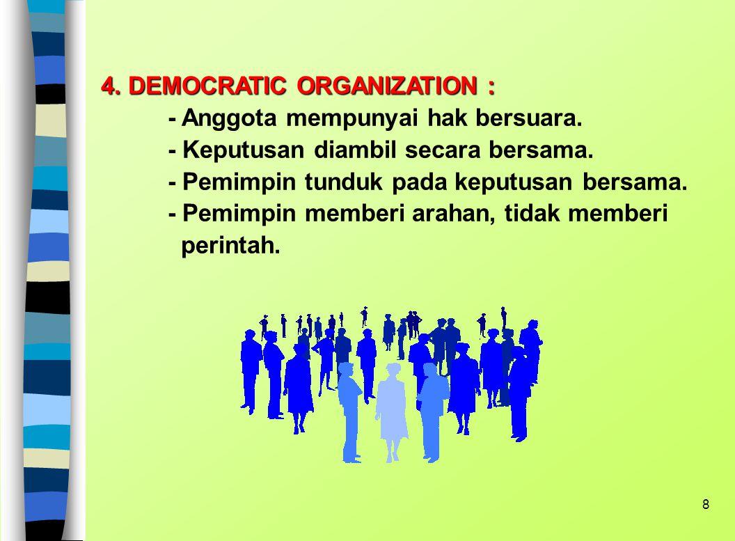 4. DEMOCRATIC ORGANIZATION :. - Anggota mempunyai hak bersuara