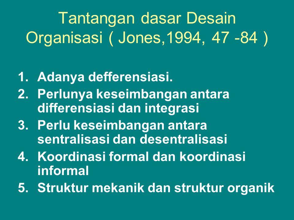 Tantangan dasar Desain Organisasi ( Jones,1994, 47 -84 )