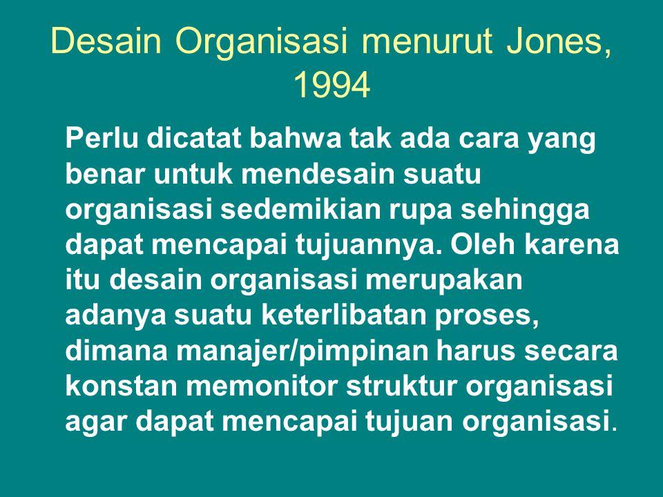Desain Organisasi menurut Jones, 1994