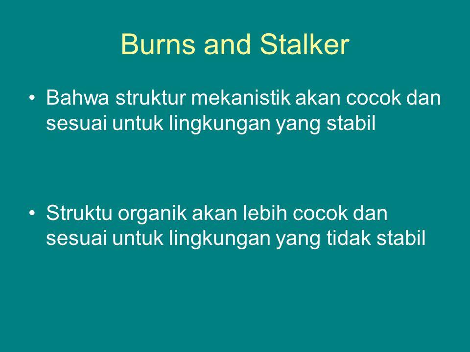 Burns and Stalker Bahwa struktur mekanistik akan cocok dan sesuai untuk lingkungan yang stabil.