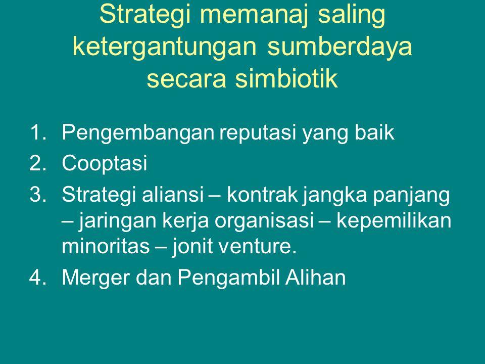Strategi memanaj saling ketergantungan sumberdaya secara simbiotik