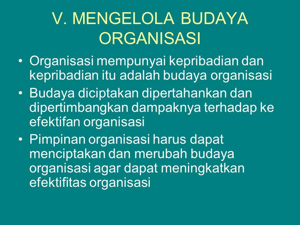 V. MENGELOLA BUDAYA ORGANISASI