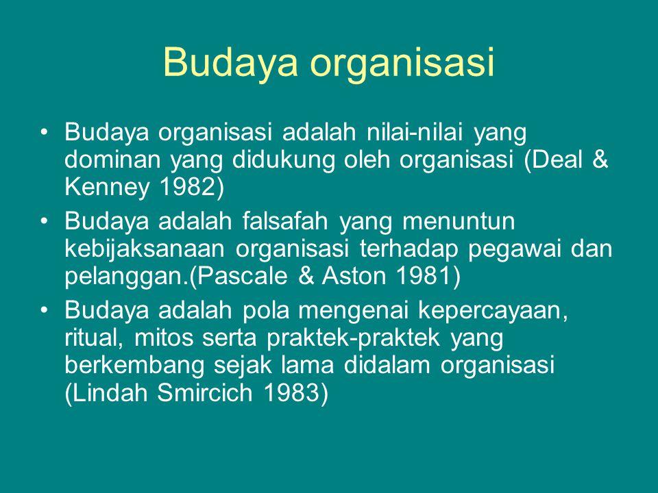 Budaya organisasi Budaya organisasi adalah nilai-nilai yang dominan yang didukung oleh organisasi (Deal & Kenney 1982)