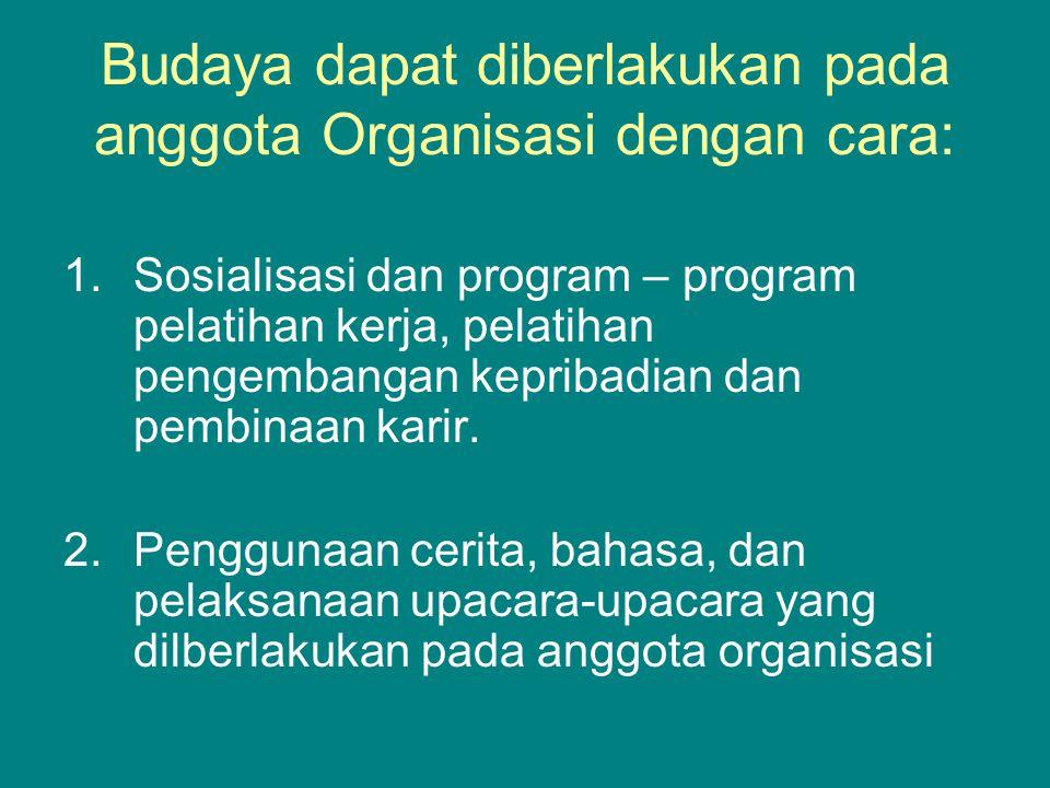Budaya dapat diberlakukan pada anggota Organisasi dengan cara: