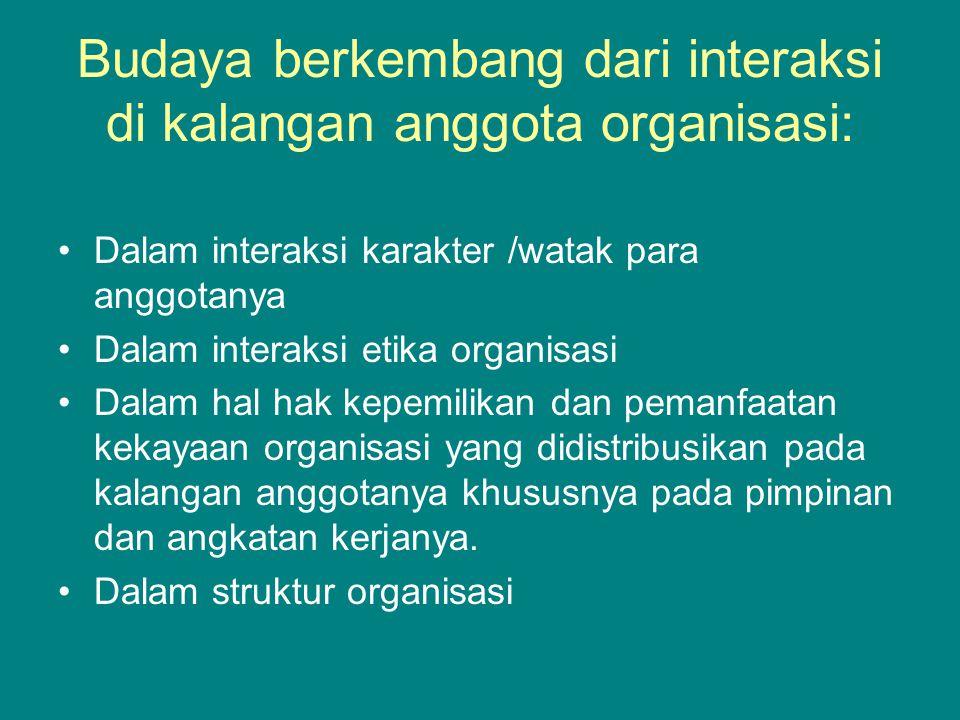 Budaya berkembang dari interaksi di kalangan anggota organisasi: