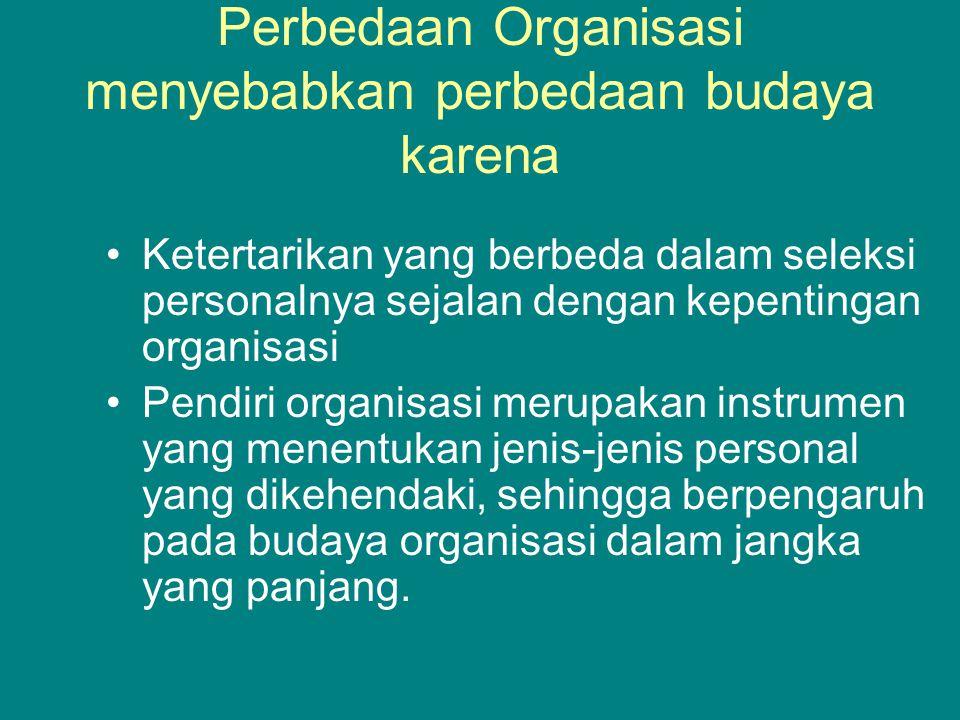 Perbedaan Organisasi menyebabkan perbedaan budaya karena