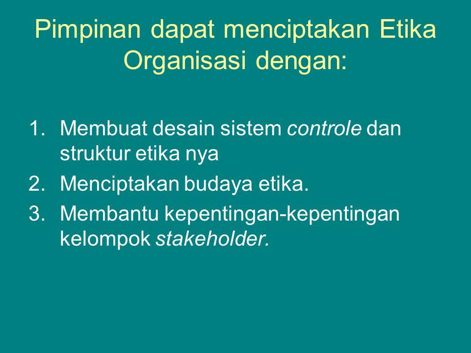 Pimpinan dapat menciptakan Etika Organisasi dengan: