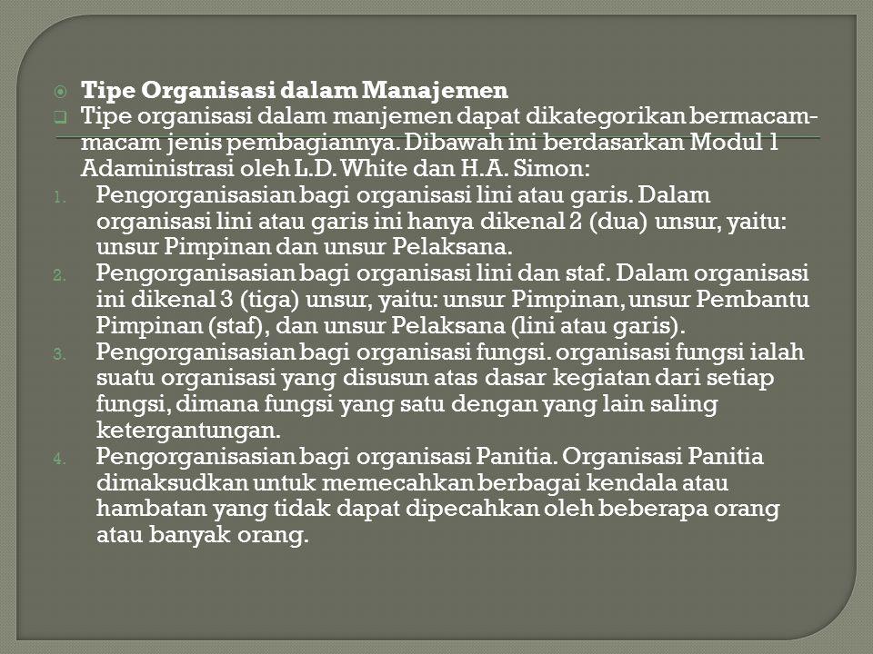 Tipe Organisasi dalam Manajemen