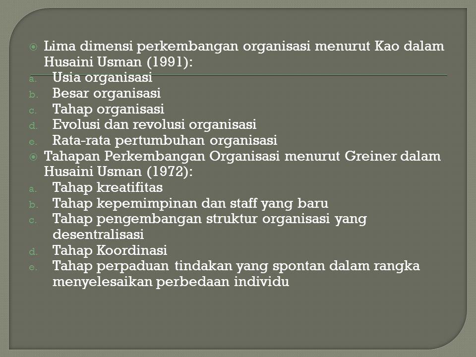 Lima dimensi perkembangan organisasi menurut Kao dalam Husaini Usman (1991):