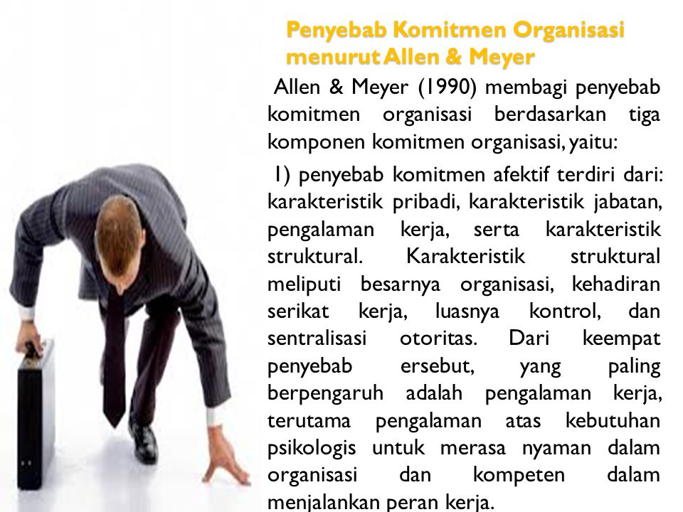 Penyebab Komitmen Organisasi menurut Allen & Meyer