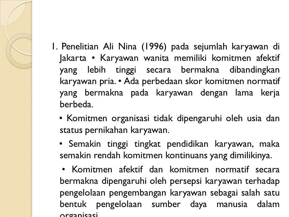 1. Penelitian Ali Nina (1996) pada sejumlah karyawan di Jakarta • Karyawan wanita memiliki komitmen afektif yang lebih tinggi secara bermakna dibandingkan karyawan pria. • Ada perbedaan skor komitmen normatif yang bermakna pada karyawan dengan lama kerja berbeda.