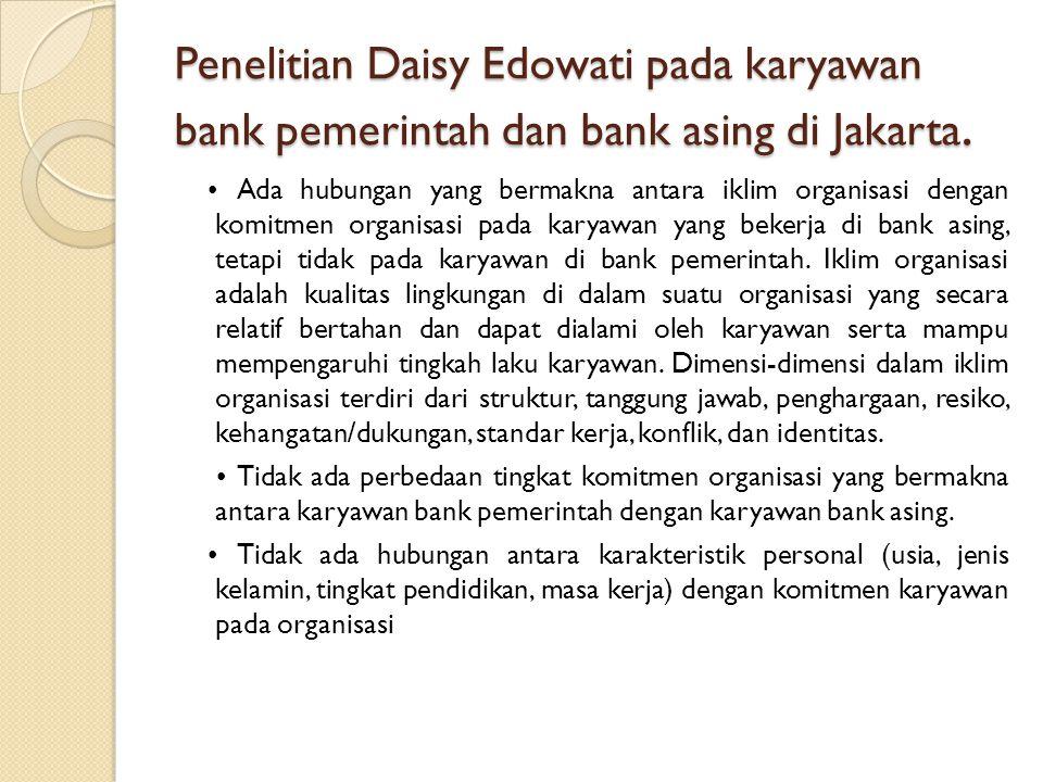 Penelitian Daisy Edowati pada karyawan bank pemerintah dan bank asing di Jakarta.