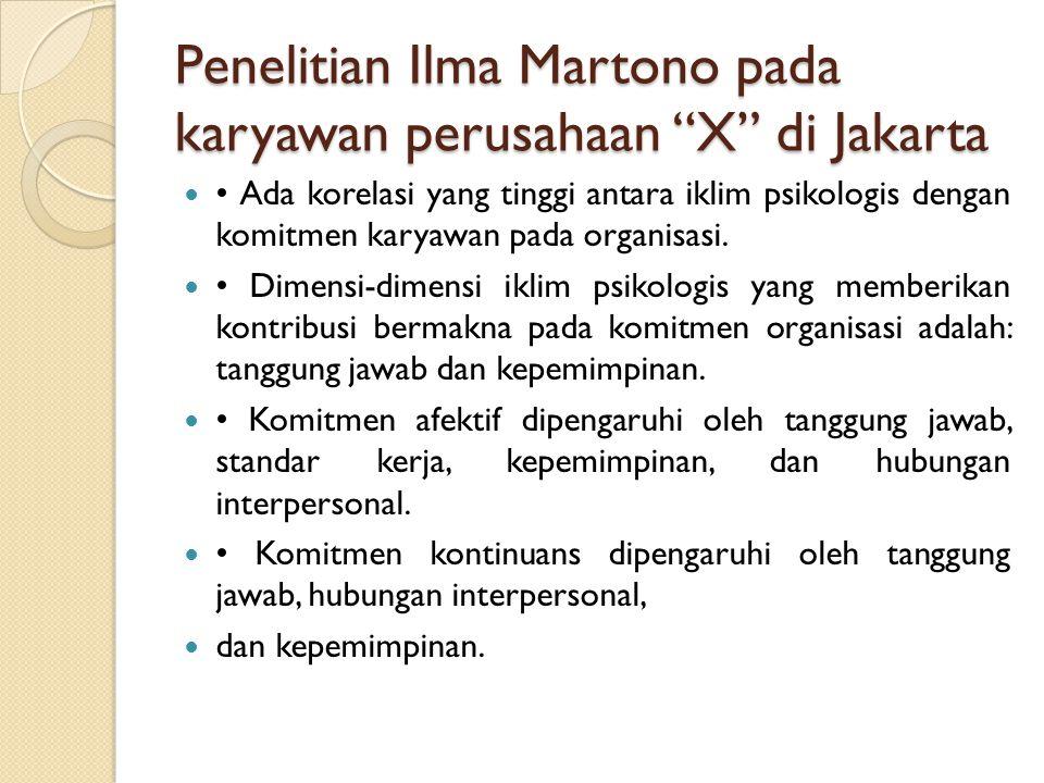 Penelitian Ilma Martono pada karyawan perusahaan X di Jakarta