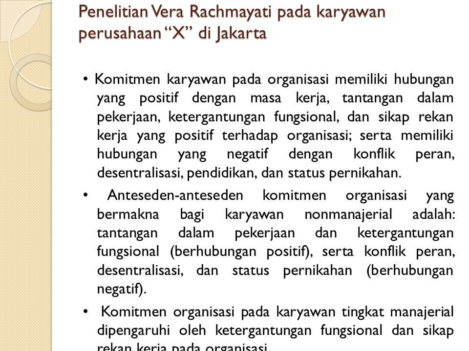 Penelitian Vera Rachmayati pada karyawan perusahaan X di Jakarta