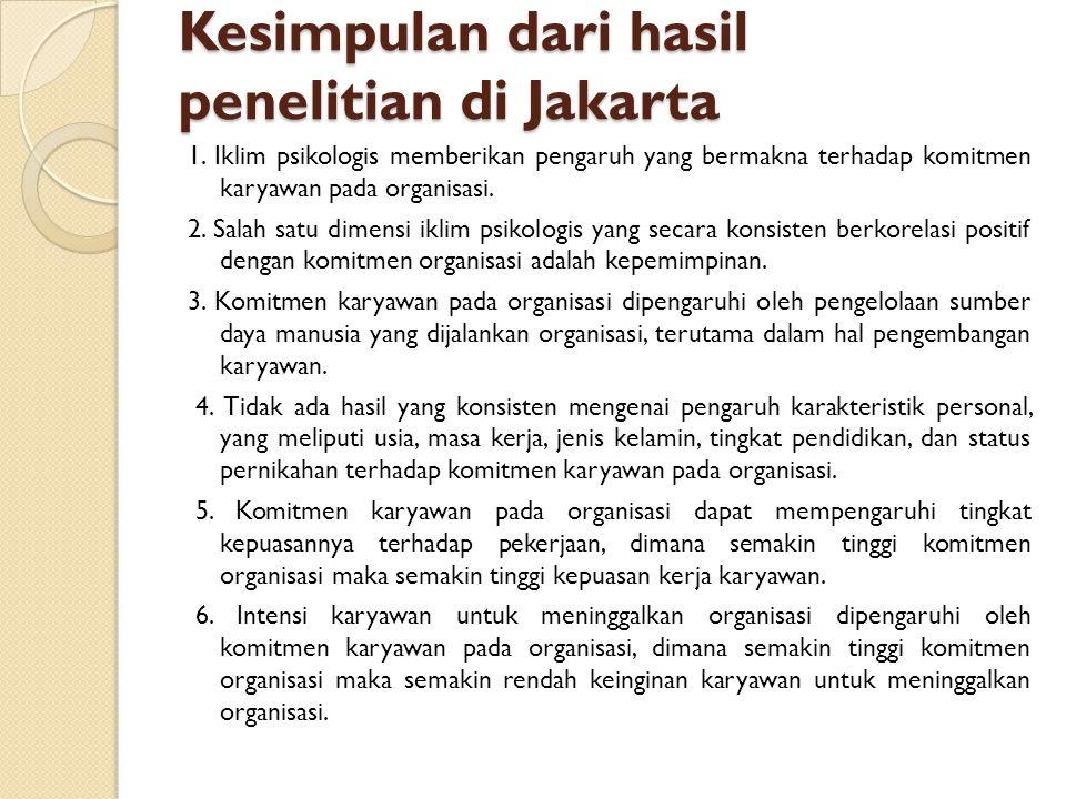 Kesimpulan dari hasil penelitian di Jakarta