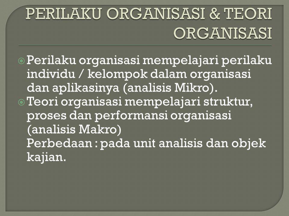 PERILAKU ORGANISASI & TEORI ORGANISASI