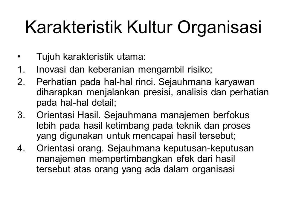 Karakteristik Kultur Organisasi