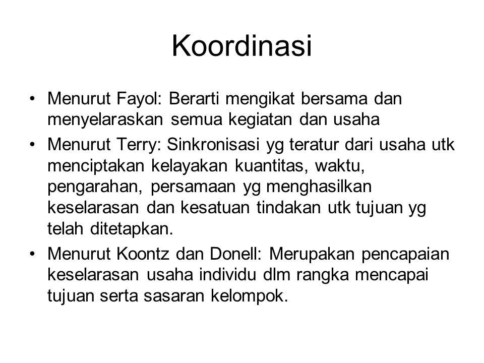 Koordinasi Menurut Fayol: Berarti mengikat bersama dan menyelaraskan semua kegiatan dan usaha.