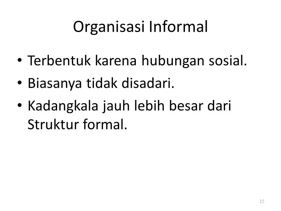 Organisasi Informal Terbentuk karena hubungan sosial.