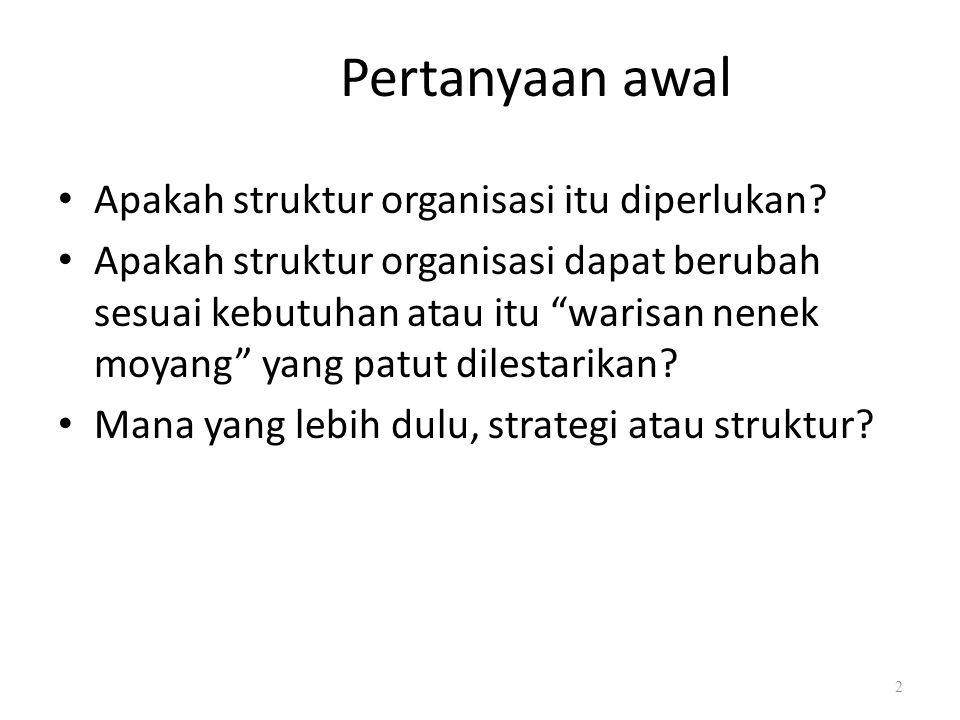 Pertanyaan awal Apakah struktur organisasi itu diperlukan