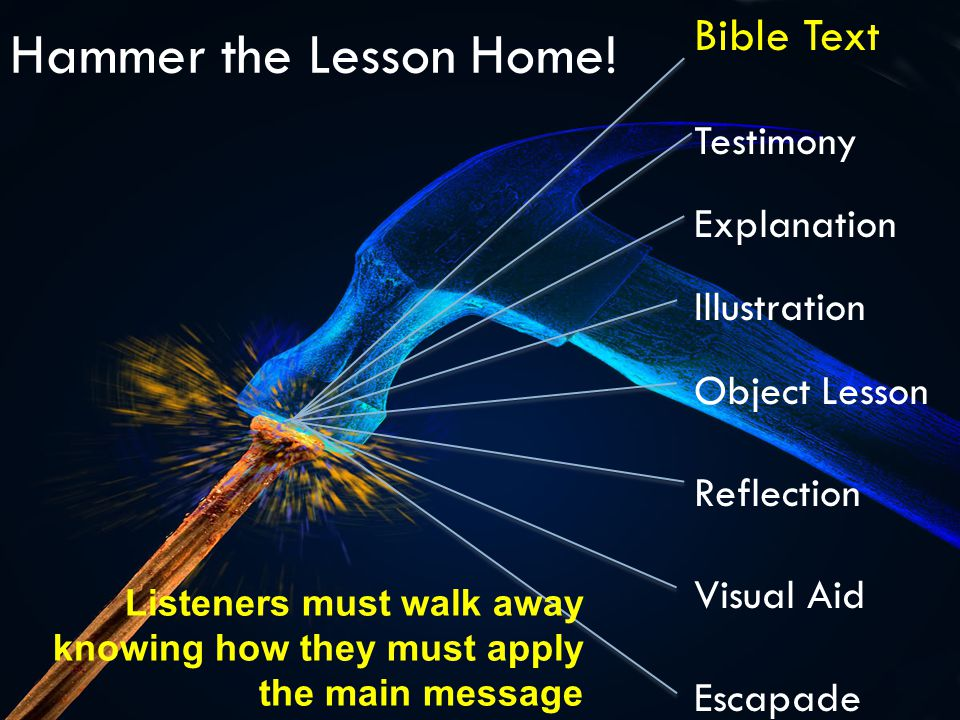 Hammer the Lesson Home! Bible Text Testimony Explanation Illustration