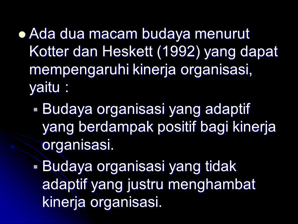 Ada dua macam budaya menurut Kotter dan Heskett (1992) yang dapat mempengaruhi kinerja organisasi, yaitu :