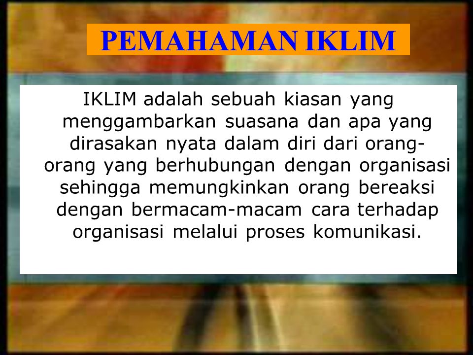 PEMAHAMAN IKLIM