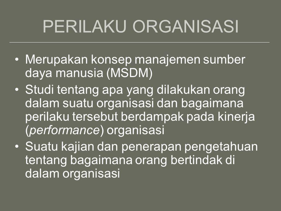 PERILAKU ORGANISASI Merupakan konsep manajemen sumber daya manusia (MSDM)