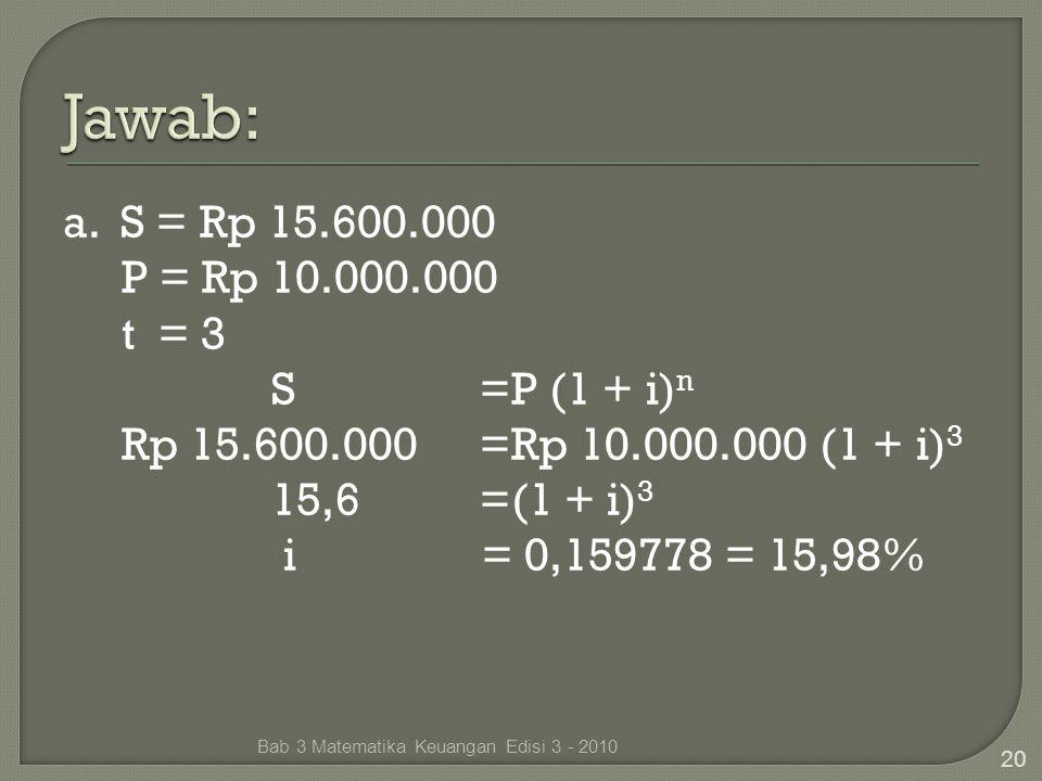 Jawab: a. S = Rp 15.600.000 P = Rp 10.000.000 t = 3 S =P (1 + i)n Rp 15.600.000 =Rp 10.000.000 (1 + i)3 15,6 =(1 + i)3 i = 0,159778 = 15,98%