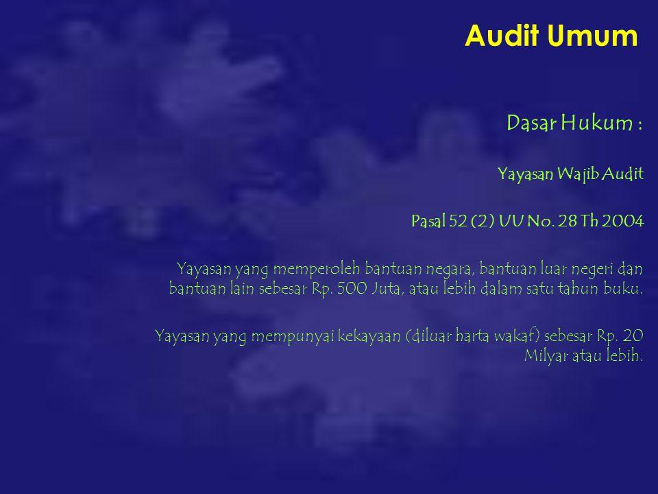 Audit Umum Dasar Hukum : Yayasan Wajib Audit