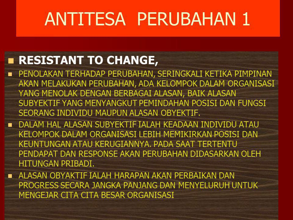 ANTITESA PERUBAHAN 1 RESISTANT TO CHANGE,