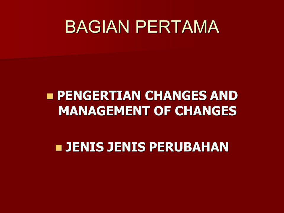 PENGERTIAN CHANGES AND MANAGEMENT OF CHANGES