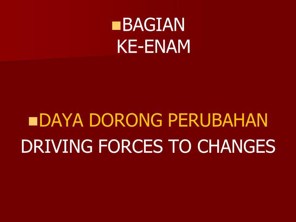 DRIVING FORCES TO CHANGES