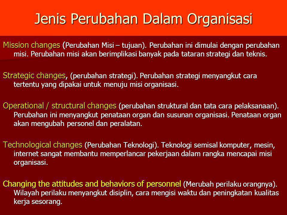 Jenis Perubahan Dalam Organisasi