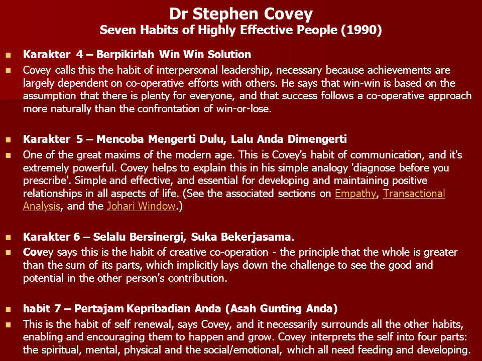 Dr Stephen Covey Seven Habits of Highly Effective People (1990)
