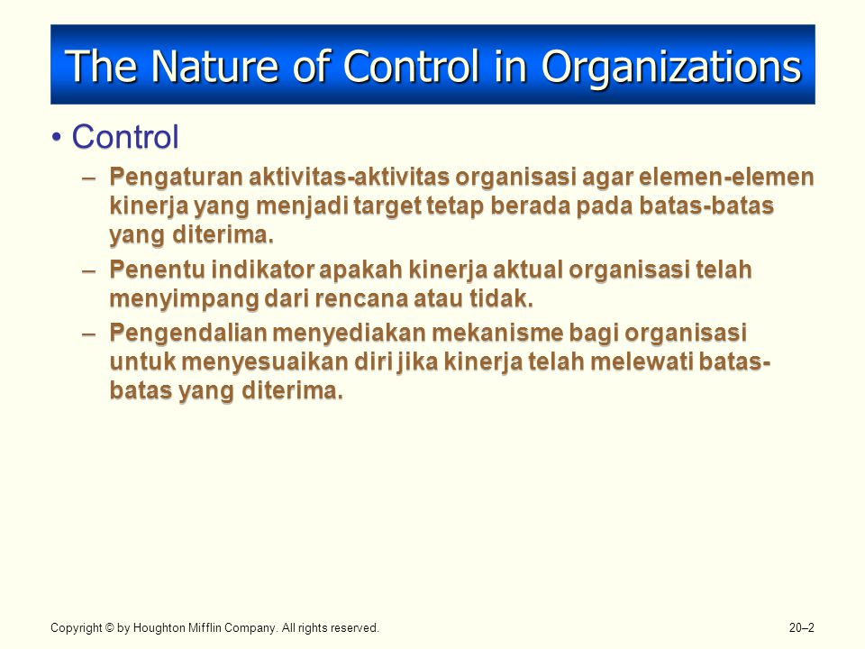 The Nature of Control in Organizations