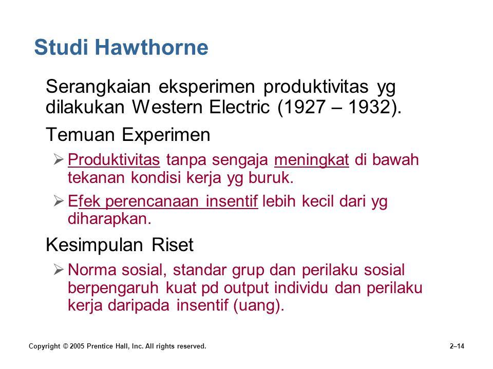 Studi Hawthorne Serangkaian eksperimen produktivitas yg dilakukan Western Electric (1927 – 1932). Temuan Experimen.