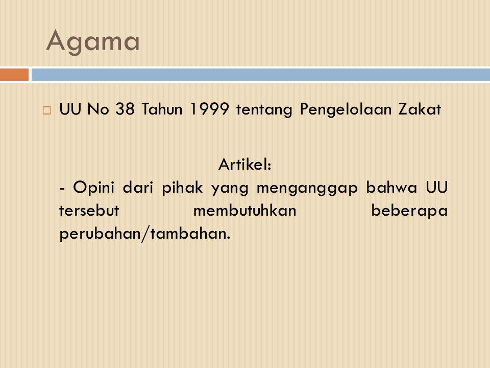 Agama UU No 38 Tahun 1999 tentang Pengelolaan Zakat
