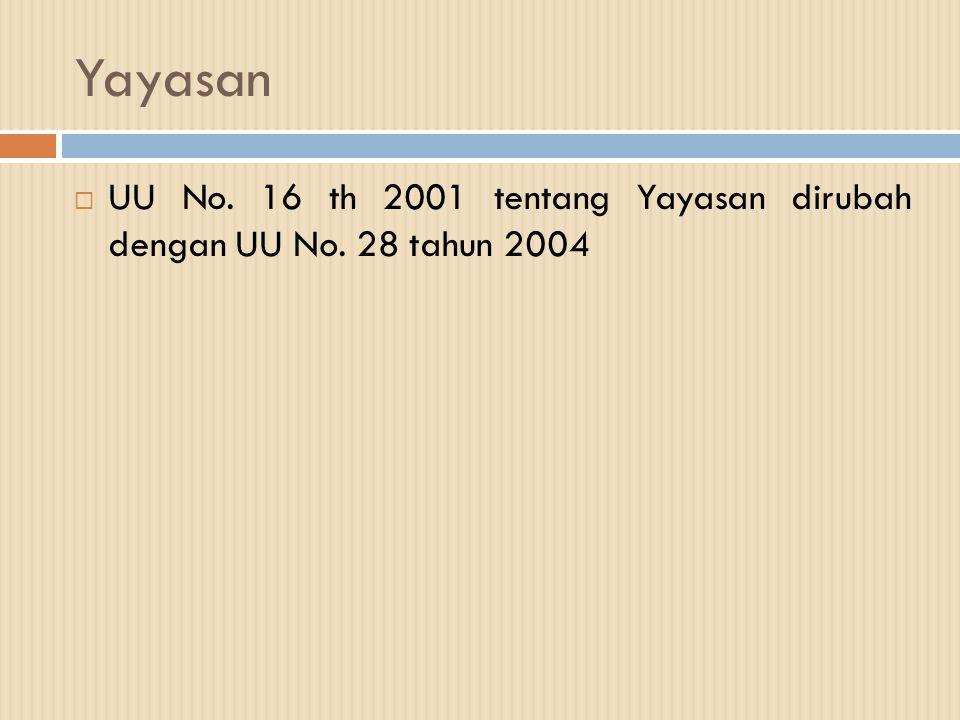 Yayasan UU No. 16 th 2001 tentang Yayasan dirubah dengan UU No. 28 tahun 2004