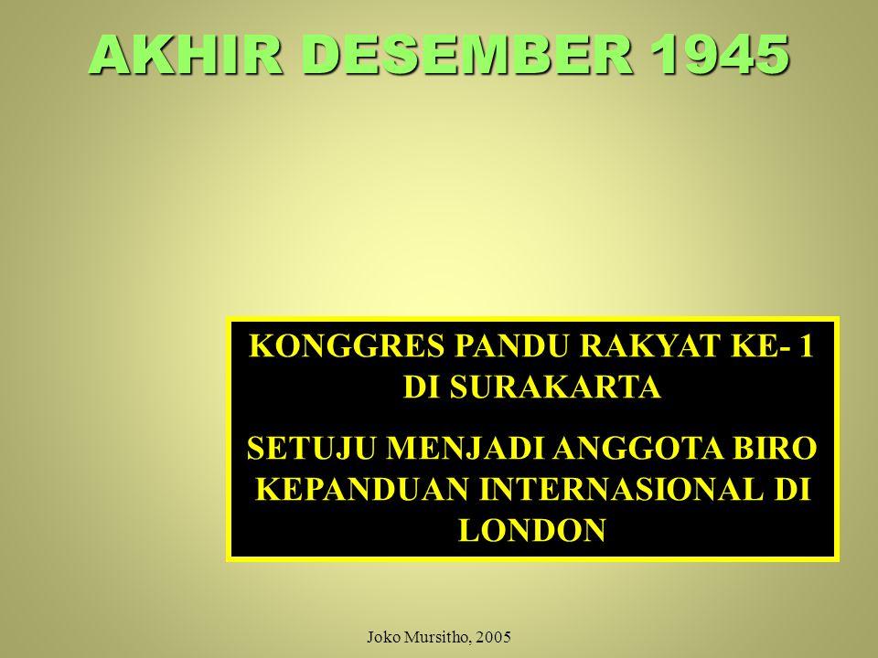 AKHIR DESEMBER 1945 KONGGRES PANDU RAKYAT KE- 1 DI SURAKARTA