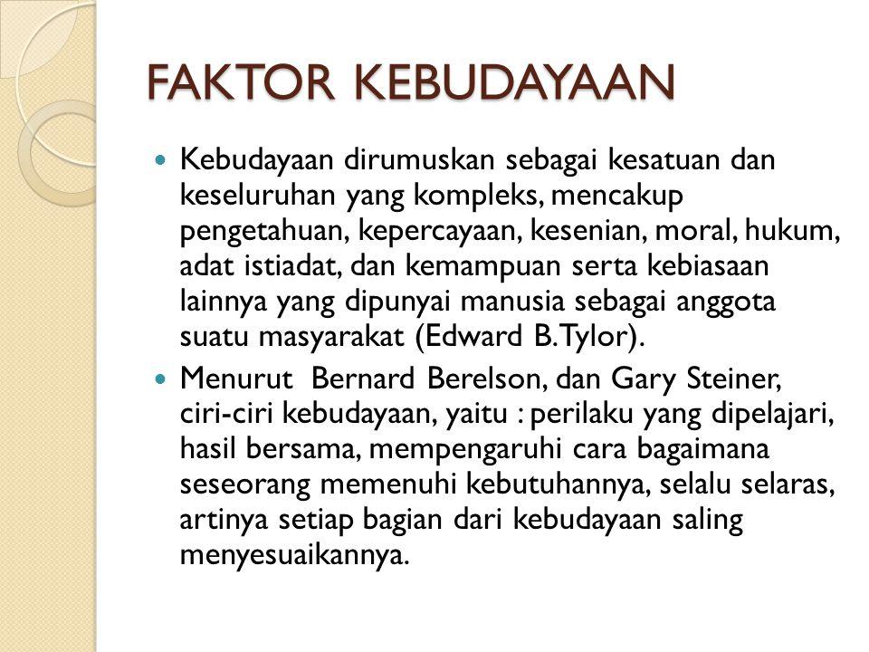 FAKTOR KEBUDAYAAN