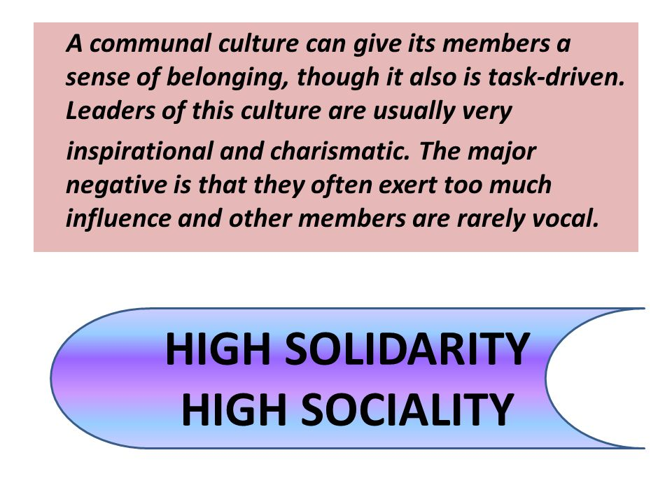 HIGH SOLIDARITY HIGH SOCIALITY