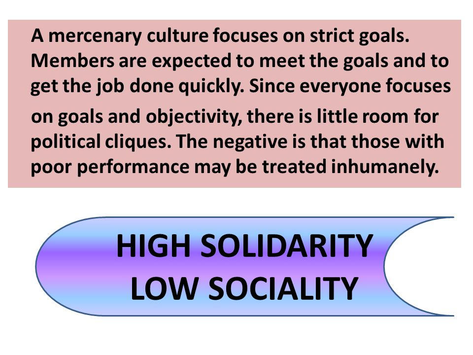 HIGH SOLIDARITY LOW SOCIALITY