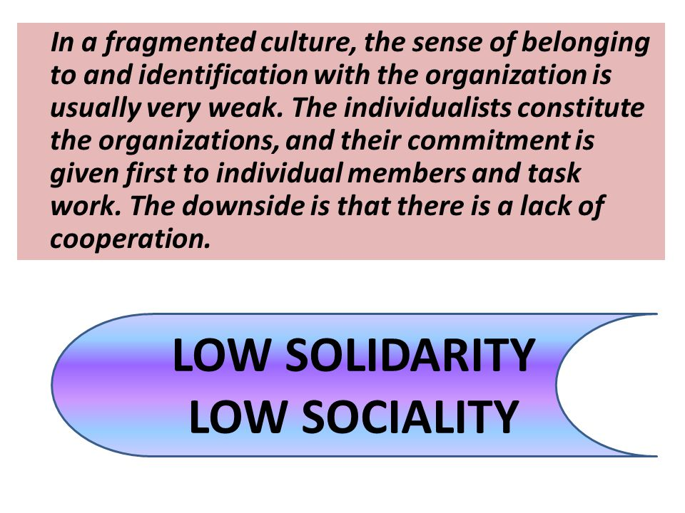 LOW SOLIDARITY LOW SOCIALITY