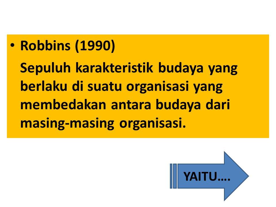 Robbins (1990) Sepuluh karakteristik budaya yang berlaku di suatu organisasi yang membedakan antara budaya dari masing-masing organisasi.