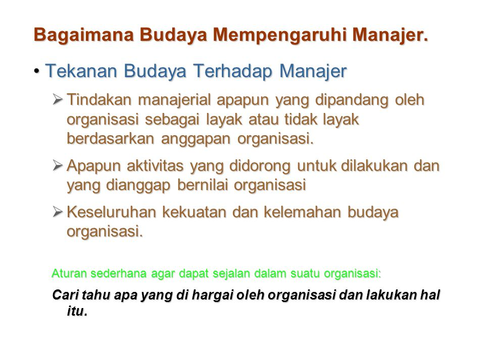 Bagaimana Budaya Mempengaruhi Manajer.