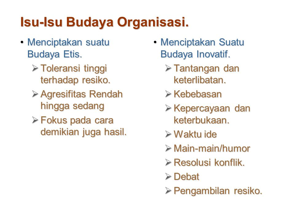 Isu-Isu Budaya Organisasi.