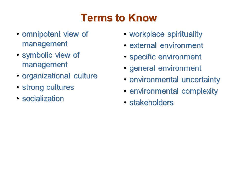 Terms to Know omnipotent view of management
